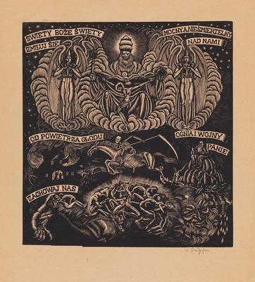 Władysław Skoczylas Święty Boże/Holy God, 1916 drzeworyt, papier/woodcut, paper, Muzeum Sztuki w Łodzi