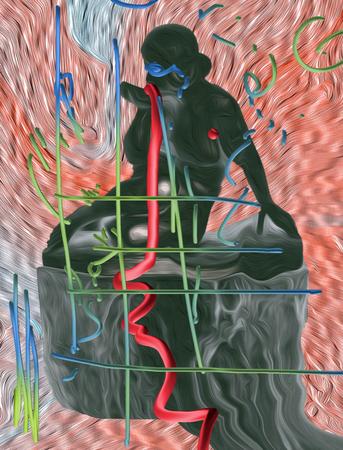 """Justyna Wierzchowiecka """"Archiwologia"""" z cyklu Museum Studies, fotografia cyfrowa, 2020. Na podstawie reprodukcji rzeźby """"Kobieta siedząca na postumencie"""" nieznanego artysty z kolekcji Muzeum Sztuki w Łodzi"""