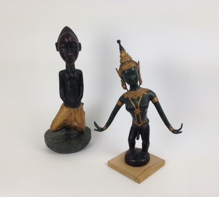 "Jacques Lizene (b. 1946), ""Art syncrétique / Syncretic Art"", 2011, African fetish crossed with Asian dancer, mixed media, 40 × 13 × 13 cm, 42 × 14 × 14 cm, collection of Antoine de Galbert, Paris, photo: Arthur Toqué"