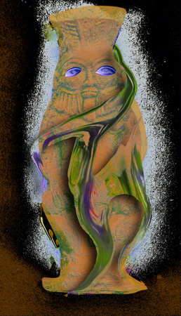 """Justyna Wierzchowiecka """"Archivology"""" from the """"Museum Studies"""" cycle, digital photography, 2020. Based on the reproduction of a sculpture """"Figurka bożka Bes"""" (""""The figurine of idol Bes"""") by an unknown artist from the collection of Muzeum Sztuki in Łódź"""