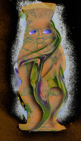 """Justyna Wierzchowiecka """"Archiwologia"""" z cyklu Museum Studies, fotografia cyfrowa, 2020. Na podstawie reprodukcji """"Figurki bożka Bes"""" nieznanego artysty z kolekcji Muzeum Sztuki w Łodzi"""