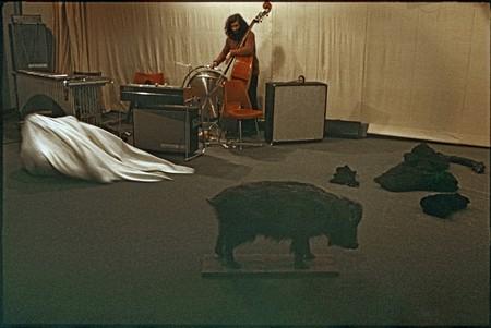 'Activities' conducted in a Polish TV studio by Przemysław Kwiek, Zofia Kulik, Paweł Kwiek, Krzysztof Zarębski, Jacek Dobrowolski and members of the group Grupa w Składzie, 1972. Photo courtesy of Zofia Kulik.