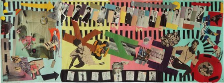 Evgenij 'E-E' Kozlov, KINO, mixed media collage with pictures from the photo session for the  LP cover of KINO's 'Nachalnik Kamchatki' (Boiler Plant Operator), 80 x 225 cm, 1985, collection of the artist.