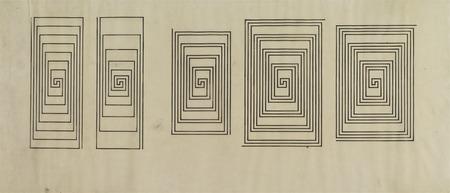 """Wacław Szpakowski, """"S4"""" – studia spirali rysunek tuszem na kalce technicznej, 1939 - 43, z kolekcji Muzeum Sztuki w Łodzi"""