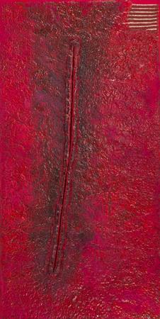"""Teresa Tyszkiewicz, """"Rouge 1"""", 1986-87, szpilki, papier, akryl i olej na płótnie, 292 x 147 cm, kolekcja Juliusza Windorbskiego, foto: Marcin Koniak / Desa Unicum"""