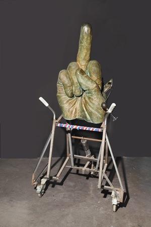 "John Isaacs (b. 1968), ""Bringing it All Back Home (Let 's Dance)"", 2007, bronze, steel, jacket, rubber, electric tape, 170 × 80 × 75 cm, collection of Antoine de Galbert, Paris, photo: Arthur Toqué"