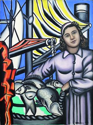 Nadia Petrova (Nadia Léger), Marchande de poissons (Sprzedawczyni ryb), 1950, olej, płótno, 130 x 96 cm / © Estate of Nadia Léger, Francja