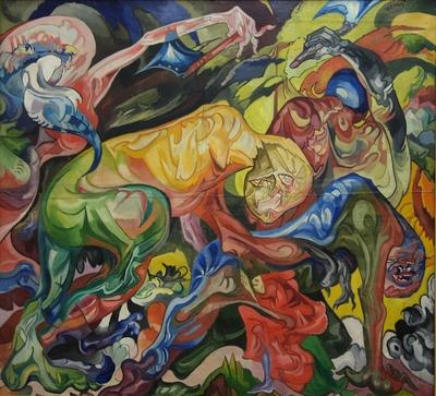 Stanisław Ignacy Witkiwiecz Walka (Rąbanie lasu)/ Fight (Tree Felling), 1921-1922 farby olejne, płótno/ oil paint, canvas, Muzeum Sztuki w Łodzi