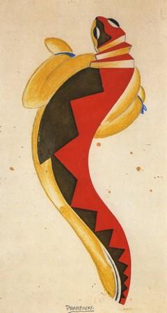 Enrico Prampolini, Projekt kostiumu do spektaklu Młoda Salamandra Luigiego Pirandellego, ok. 1928