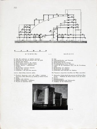 Andrzej Pronaszko, Szymon Syrkus, Zygmunt Leski, Projekt Teatru Symultanicznego, Praesens 1930, nr 2, s. 152, fot. Muzeum Sztuki w Łodzi