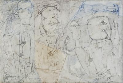 Franciszka Themerson, Four frames of reference into one / Cztery układy odniesienia w jednym, 1955 olej, płótno / oil, canvas, 100 x 150 cm, Muzeum Sztuki w Łodzi