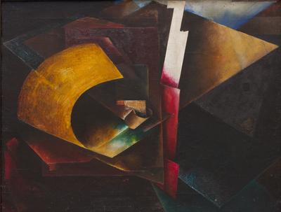 El Lissitzky, Kompozycja, 1918 – 1920, olej na płótnie, Narodowe Muzeum Sztuki Ukrainy, Kijów