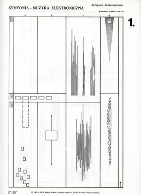 """Bogusław Schaeffer, """"Symfonia – Muzyka elektroniczna"""", 1964, 1 strona partytury. Dzięki uprzejmości Fundacji Przyjaciół Sztuk AUREA PORTA."""