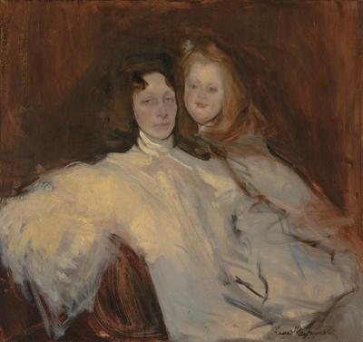 Konrad Krzyżanowski, Portret Tomiry Słońskiej z córką ok.1903,  olej, płótno;  Z kolekcji Muzeum Śląskiego w Katowicach
