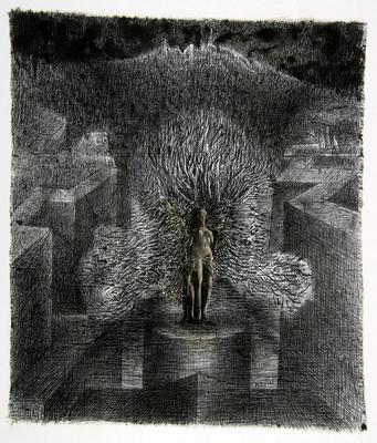 Henryk Morel Kompozycja I 68, z cyklu Lunapark IX , tusz, płótno, Muzeum Sztuki w Łodzi