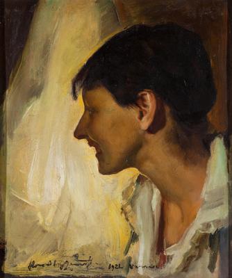 Konrad Krzyżanowski, Studium portretowe Emilii Wysockiej, 1921 olej, dykta;  Z kolekcji Muzeum Pałac Herbsta