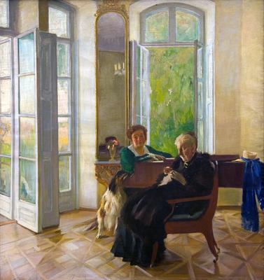 Konrad Krzyżanowski, Portret żony i teściowej artysty w dworku w Peremylu na Wołyniu, 1913 olej, płótno;  Z kolekcji Muzeum Pałac Herbsta