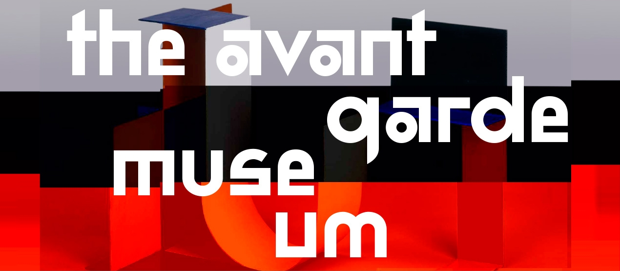 The title of the exhibition. In the background, there is a sculpture by Katarzyna Kobro with colorful stripes on it.