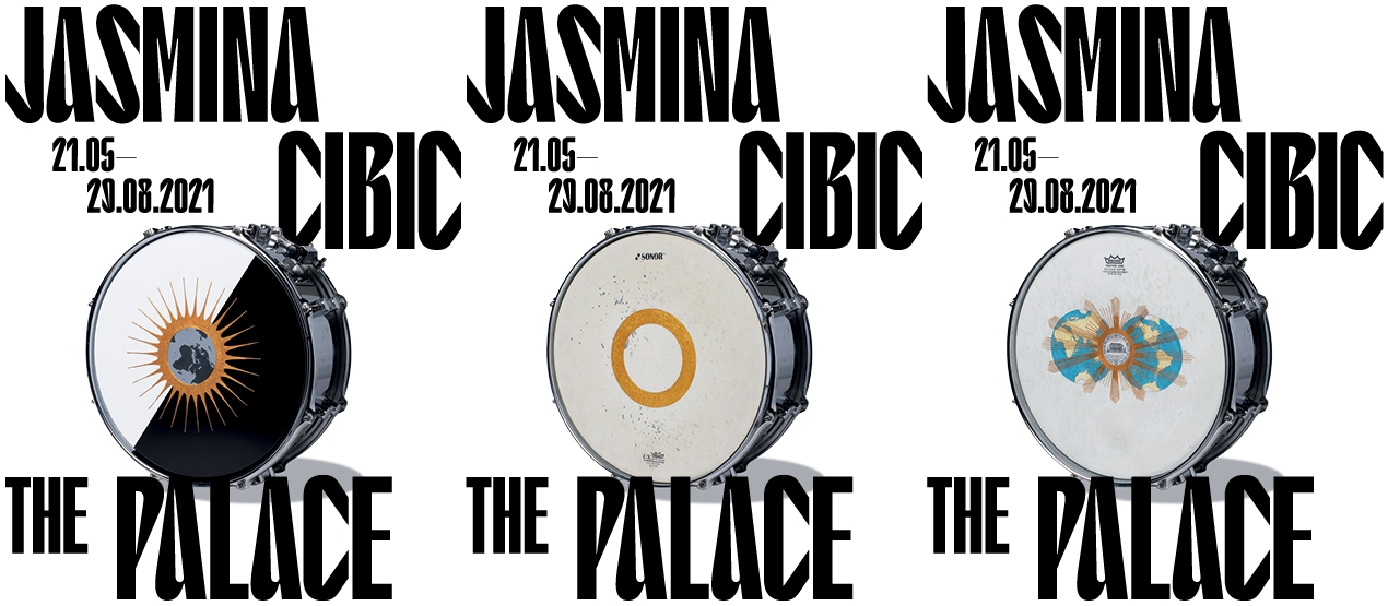 The picture consists of trebled rectangles. Each one shows a white snare drum and the exhibition's title and dates.