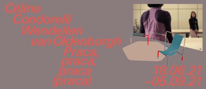 """Baner jest koloru fioletowo-szarego. Po prawej stronie znajdują się """"Spatial Composition 13"""" Condorelli i zdjęcie, na którym są dwie kobiety (jedna odwrócona tyłem do obiektywu, druga w t"""