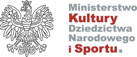 Grafika przedstawia logo Ministerstwa Kultury, Dziedzictwa Narodowego i Sportu. Po lewej stronie znajduje się godło Polski.