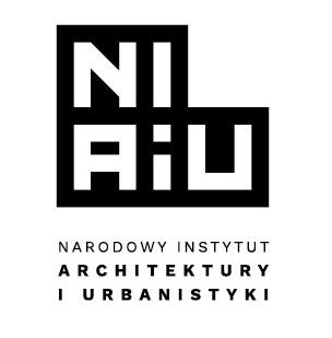 czarno-białe logo z napisem: Narodowy Instytut Architektury i Urbanistyki